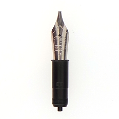 Bock fountain pen nib with Bock housing #6 polished steel - italic point - 1.1mm