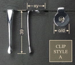 Pen clip style A - chrome 15x39, gasket o/d 12.4, i/d 4.0