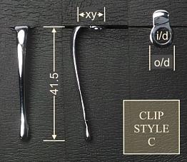 Pen clip style C - chromed 11x41.5, gasket o/d 8.1, i/d 5.0