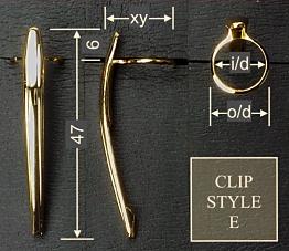Pen clip style E - chromed 17x47, gasket o/d 12.3, i/d 10.3