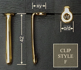 Pen clip style F - gold 12x42, gasket o/d 9.0, i/d 4.8