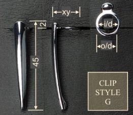 Pen clip style G5 - gold 18x45, gasket o/d 14.4, i/d 11.9