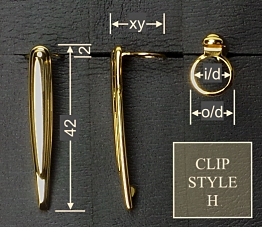Pen clip style H3 - gold 16x42, plate o/d 12.0, i/d 10.0