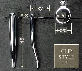 Pen clip style J3 - polished black 17x45, gasket o/d 12.0, i/d 10.0