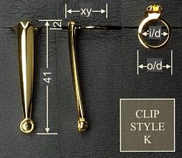Pen clip style K2 - gunmetal 15x41, gasket o/d 11.2, i/d 8.9