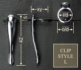 Pen clip style L4 - gold 17.5x42, gasket o/d 13.6, i/d 11.0