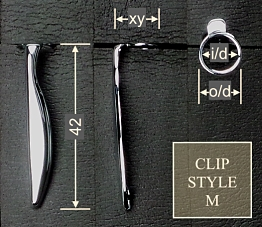 Pen clip style M - chromed 13x42, gasket o/d 9.7, i/d 7.9