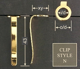 Pen clip style N - chromed 15x43, gasket o/d 12.1, i/d 8.0