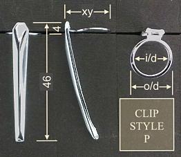Pen clip style P - chromed 18x46, gasket o/d 14.0, i/d 11.7