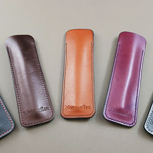 MorganEsq leather slip pen case - papaya