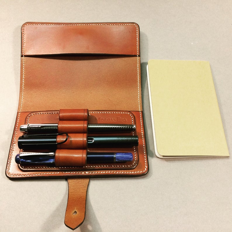 MorganEsq leather pen case for 4 pens - dark brown