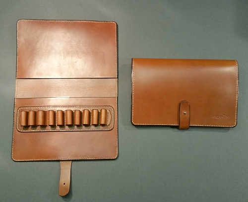MorganEsq leather pen case for 10 pens - tan