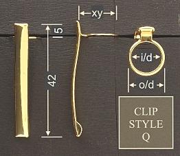 Pen clip style Q3 - chromed 15.5x42, gasket o/d 12.0, i/d 10.0