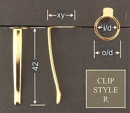 Pen clip style R3 - chromed 15.5x42, gasket o/d 12.0, i/d 10.0