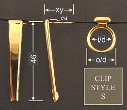 Pen clip style S4 - chromed 18x46, gasket o/d 13.6, i/d 11.0