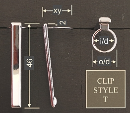 Pen clip style T5 - chromed 19x46, gasket o/d 14.4, i/d 11.9