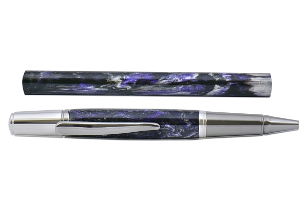 Carolina Violet - Silver series pen blank. 150mm