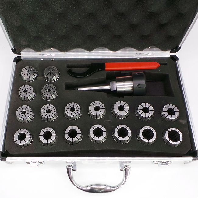 ER32 18pc metric collet set and chuck - 1 morse taper