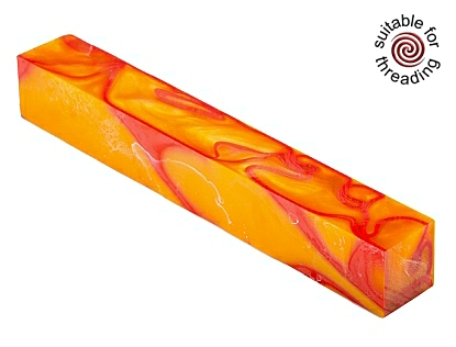 Kirinite orange sunspot pen blank