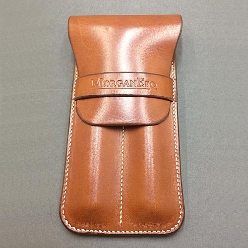 MorganEsq leather double pen case - tan