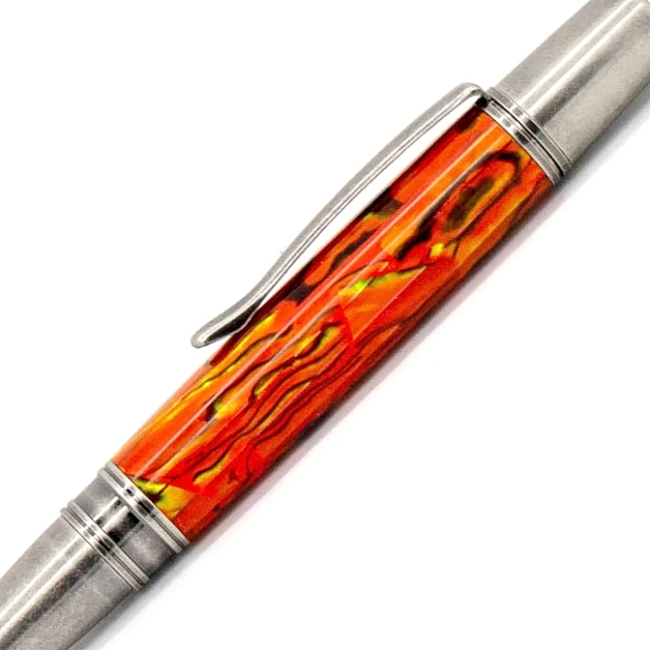 Sunset Orange Blankwerks paua abalone pen blank - Sirocco/Zephyr/Sierra Series